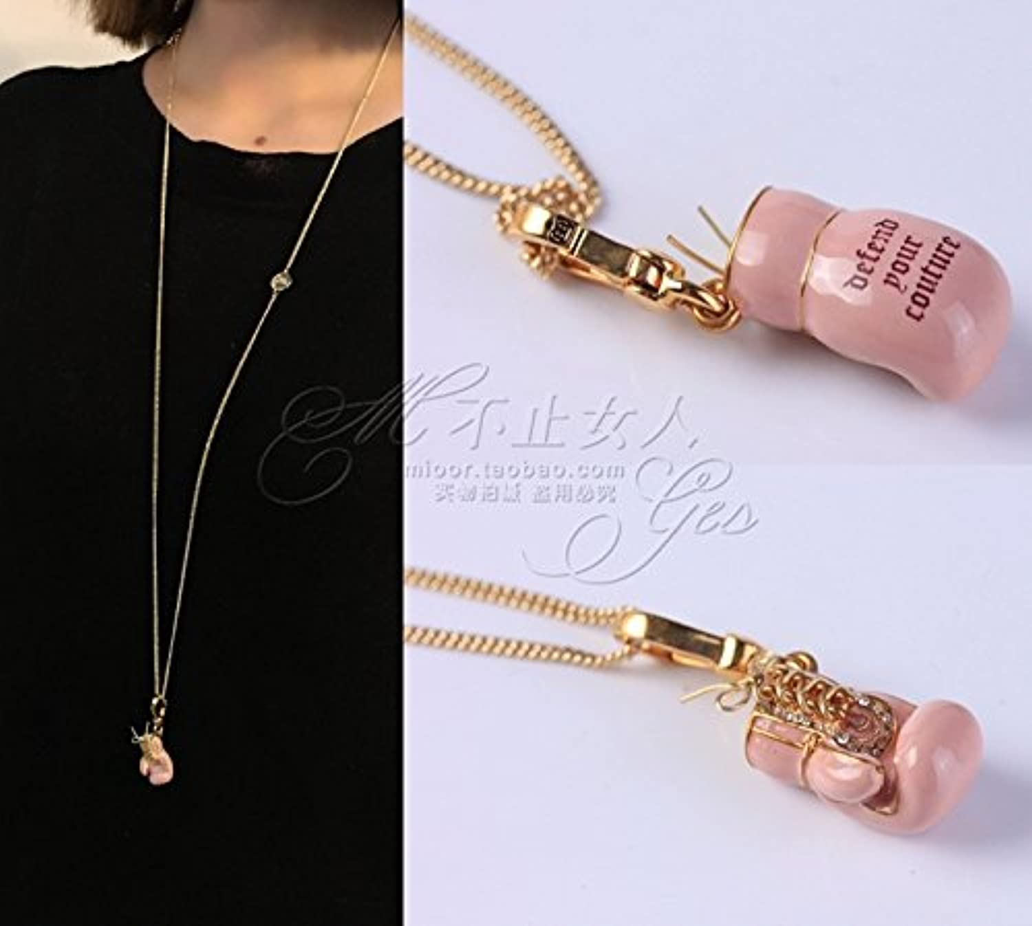 Remember Eating a Small Diamond Fenquan Cute Pink Boxing Set Long Necklace Pendant Sweater Chain Fashion by Age