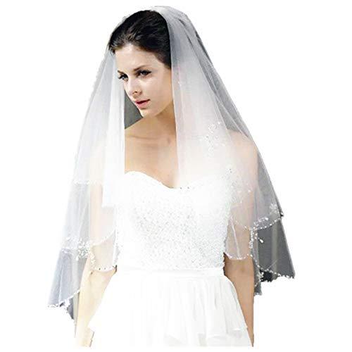 Lianshi Multi-tier velo de novia nupcial decorado con lentejuelas y cuentas de longitud 60CM Blanco