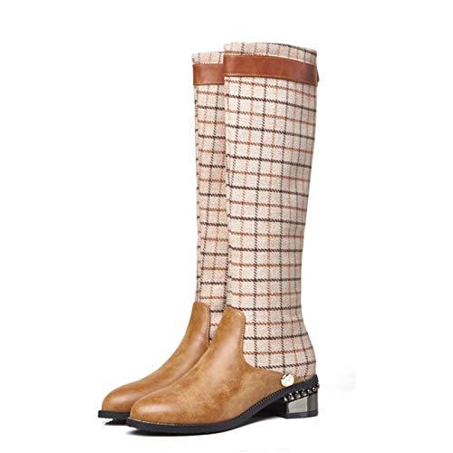 Rodilla Alta Botas para Mujer De Cuero de tacón bajo Planas Largo Botas Moda De Invierno Otoño Botines Puntiagudos A Media Pierna Botas,Marrón,35 EU