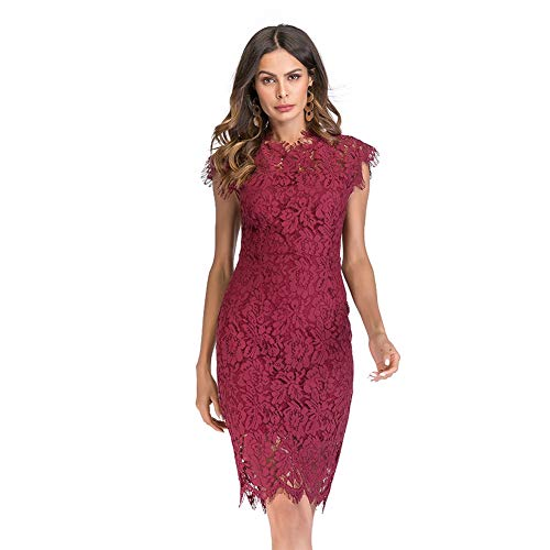 Taigood Womens Elegant Lace Pencil Dress Senza Maniche Vintage Lace Hollow Slim Formale Cocktail Party Dress Midi Dress Red-M