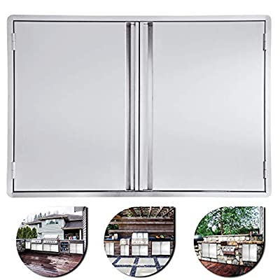 Minneer Outdoor Kitchen Door 27x22 Inch Double Wall BBQ Access Door, 304 All Brushed Stainless Steel Double BBQ Door for BBQ Island, Outside Cabinet, Barbecue Grill,Outdoor Kitchen