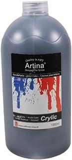 Artina crylic Peinture Acrylique pour Artistes Fortement pigmentées Séchage Rapide - 1000ml - Noir