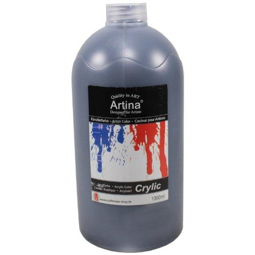 Artina Crylic Acrylfarben - hochwertige Künstler Malfarbe in 1000 ml Flaschen in Schwarz - hohe Deckkraft, Farbkraft und Lichtechtheit