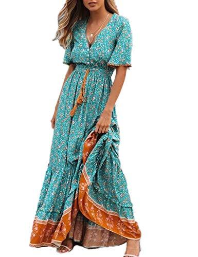 Vestido Mujer Bohemio Largo Verano Playa Fiesta Floral/Polka Dot Maxi Vestidos Cóctel Falda Larga con Cinturón (XL, Lakeblue)
