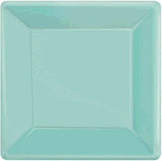 Amscan 64020.121 Square Paper, Robin's-Egg Blue Plates, 20 Pieces