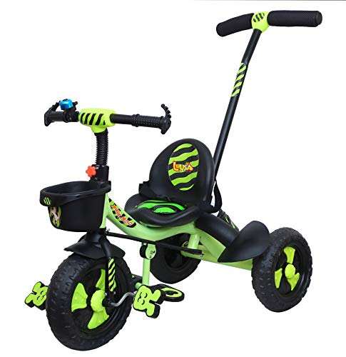 Luusa RX-500 Kids / Baby Tricycle with Parental Control , Cushion seat and seat Belt for 12 Months to 48 Months Boys / Girls / Kids. Carrying Capacity Upto 30kgs ( Green ))
