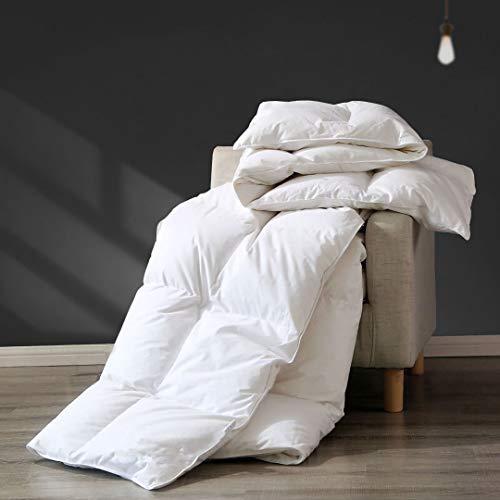 APSMILE Premium All Seasons Goose Down Comforter Full/Queen - 100% Organic Cotton, 45 Oz 650FP Medium Warmth Hypoallergenic Quilted Duvet Insert (90x90 Inches, White)