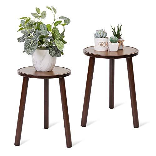 Fativo Stand di Piante in bambù, Supporto per Piante tavolino rotondo esterno Portavasi da terra piccoli sgabelli in bambù set di 2 fioriere da esterno in bambù adatto a vaso da fiori diametro 28 cm