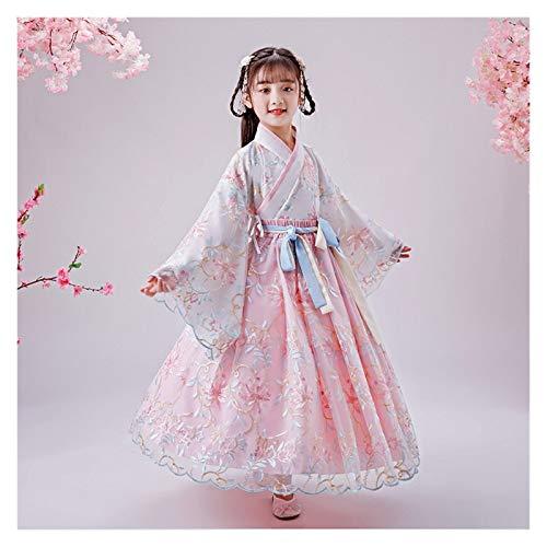Ragazze Hanfu Stile Cinese Super Fata Gonna Bambini Costume Vestito Hanfu Fata Scorre Maniche Lunghe Abito Estivo (Colore: Stile D, Taglia : 110cm)