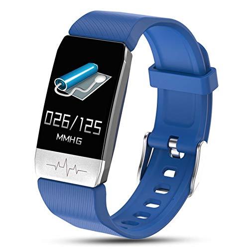 Pulsera de Actividad Inteligente Medida de la Temperatura Corporal Impermeable IP68, Reloj Deportivo con Podómetro, Monitor de Ritmo, Calorías, Sueño Notificación etc para Hombre Mujer Niños,Azul