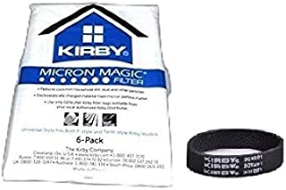 Genuine Kirby Universal Bags: 1 Pack (6 bags) of Universal HEPA White Cloth Bags Kirby Part 204811 and 3 Kirby Belts Part 301291