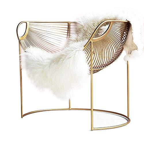 YS Silla Metal Accent Sofá individual, moderno Salón de moda Sillón Manta Dormitorio Oficina Salón Recepción Cafetería Sillón