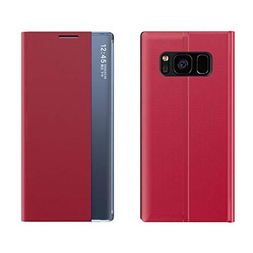 Byr883onJa Funda para smartphone Galaxy S7 Edge Pantalla lateral magnética horizontal Flip Plain Texture Cloth + PC Funda con soporte y función de reposo/despertar (color rojo)