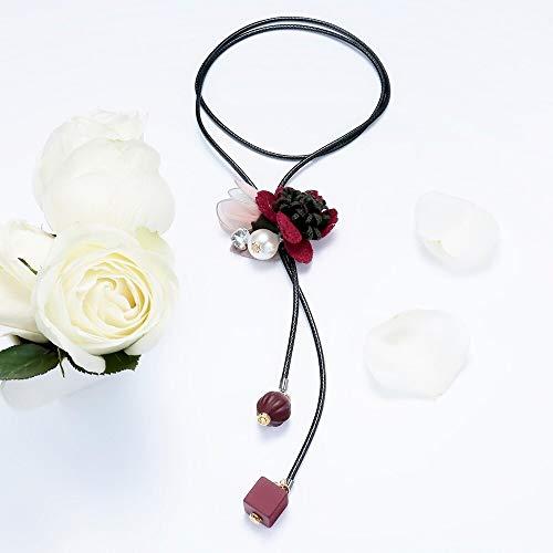 wuxu713 - Collares Largos de Flores de Tela Coreana para Mujer, Collares de Cuentas y Colgantes de Piel sintética