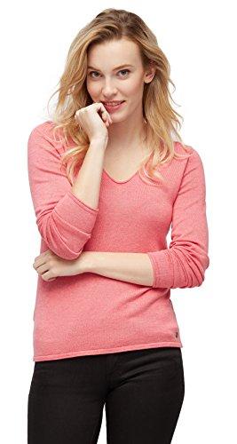 TOM TAILOR Damen Basic v-Neck Sweater Pullover, Rosa (Dark Dusty Rose 5455), 40 (Herstellergröße: L)