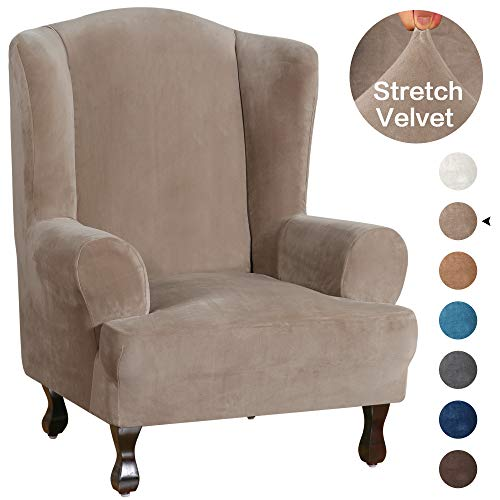 Turquoize Wing Chair Slipcover Velvet Slipcovers for Wingback Chairs Ultra Soft Plush Sofa Covers 1-Piece Furniture Cover/Wingback Chair Cover with Elastic Bottom, Machine Washable(Wing Chair, Taupe)