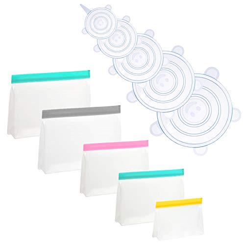 BEIBOON Bolsas de almacenamiento reutilizables y tapas elásticas, 5 unidades FDA bolsas de almacenamiento y 5 tapas de silicona para recipientes de alimentos