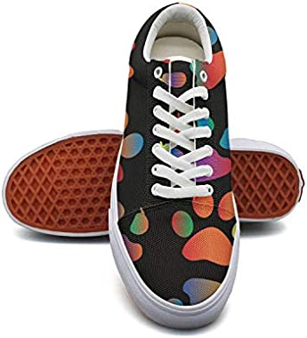 Women'sColoring Dog's Footprints Canvas Shoes Low-Cut Straps Classic Sneakers Suitable for Walking