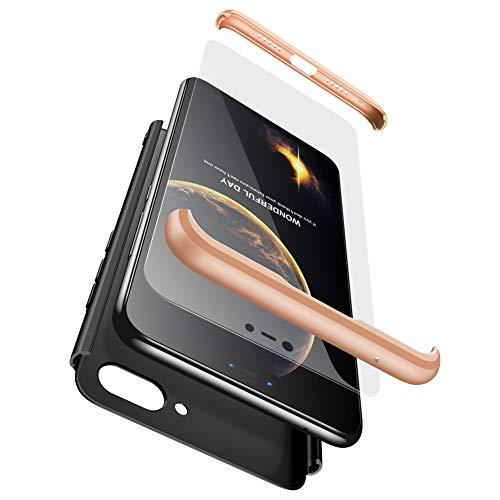 BIKANA Funda Compatible para Xiaomi 8 Lite/Mi 8X Carcasa[2*Cristal Templado] 3 in 1 Slim 360°Full-Protección PC Rígide Textura Mate Antideslizante Anti-caída Caso Cover-Plata Negro