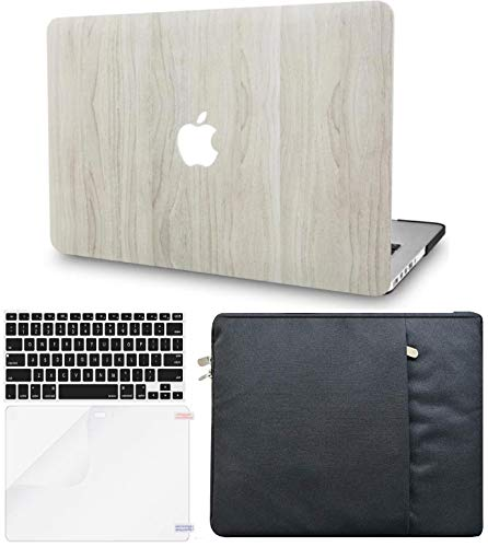 KECC Laptop Case for MacBook Pro 13' (2020/2019/2018/2017/2016, Touch Bar) w/Keyboard Cover + Sleeve + Screen Protector (4 in 1 Bundle) Hard Shell A2159/A1989/A1706/A1708 (Pine Wood 2)