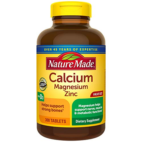 Nature Made Calcium, Magnesium Oxide, Zinc with Vitamin D3 Tablets, 300 Count for Bone Health†