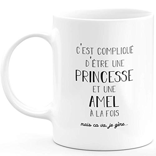 Taza de regalo amel, complicada de ser una princesa y un amel, regalo para nombre personalizado de cumpleaños, mujer, Navidad, abandono colega, cerámica blanca