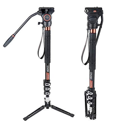 Cayer AF34DVH4 71-Zoll-Einbeinstativ-Stativ Leichte Aluminium-Teleskopkamera Einbeinstativ mit schwenkbarem Fluidkopf und Stativfuß für DSLR-Videokameras