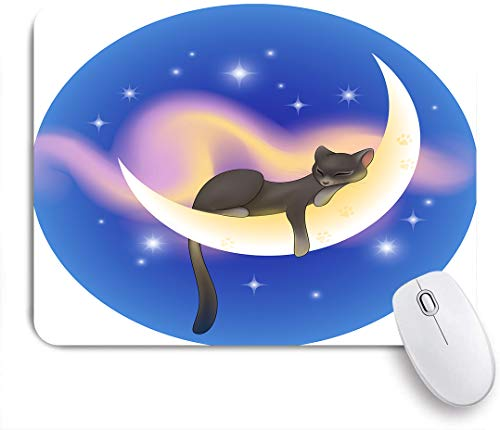 VANKINE Mouse Pad Cat Sleeping on Crescent Moon Stars Night Sweet Dreams Themed Non-Slip Rubber Gaming Mouse Pad Rectangle Mouse Pads for Computers Laptop
