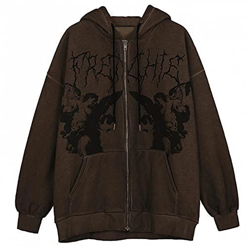 RONGbbppQ Women's Y2K Vintage Graphic Zip Up Pullover Sweatshirt Hoodie Portrait Aesthetic Coat Sweatshirt E-Girl 90s Streetwear Jacket