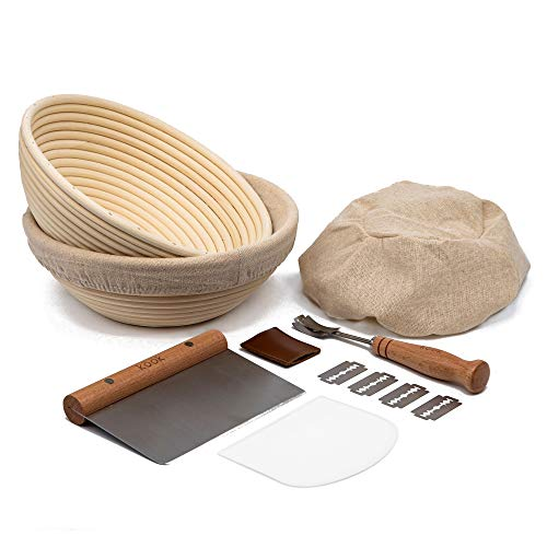 Proofing Set, by Kook, Sourdough Bread, 2 Rattan Banneton Baskets, 2 Basket Covers, Metal Scraper, Plastic Scraper, Scoring Lame, 5 Blades and Case, Round Shape