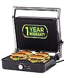 iBELL SM201G 2000-Watt Panini Grill Sandwich Maker, Big Size to Fit 4-Slice Bread, Thermostat Knob, Silver