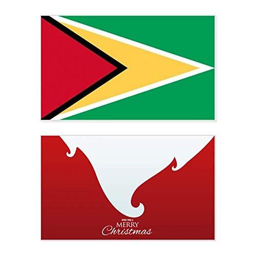 Guyana Nationalflagge Südamerika Land Urlaub Merry Christmas Karte Weihnachten Vintage Nachricht