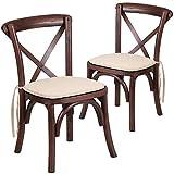 Flash Furniture 2 Pk. HERCULES Series Kids Mahogany Cross Back Chair with Cushion