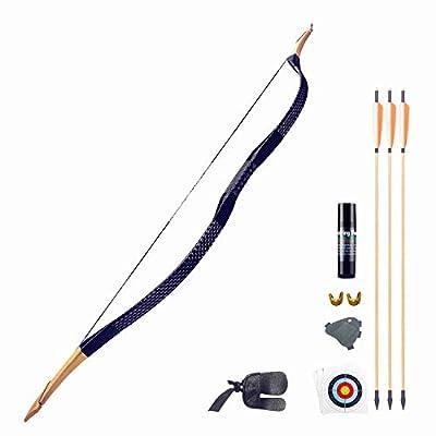 KAINOKAI Traditional Handmade Longbow Horsebow,Hunting Recurve Archery Bow,Recurve Bow Set (Black Dragon, 20.0 Pounds)