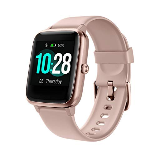 Zeit Vision Smartwatch,Fitness Armband Uhr Voller Touch Screen Fitness Uhr IP68 Wasserdicht Fitness Tracker Sportuhr mit Schrittzähler Pulsuhren Stoppuhr Damen Herren iOS Android Handy (Rosa)