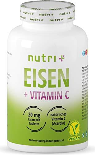 Eisentabletten 20mg hochdosiert + vegan mit natürlichem Vitamin C aus Acerola - 240 Eisen-Bisglycinat Tabletten für Vegetarier, Schwangere, Stillende, Veganer, Kinder & Müdigkeit