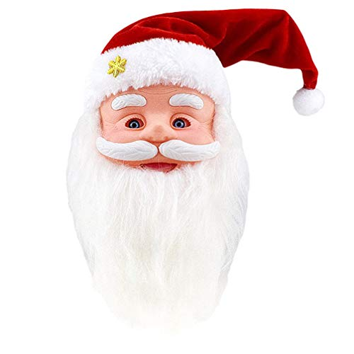Amosfun Sprechender Singender Nikolaus Weihnachtsmann Figur mit Musik Elektrische Spielzeug Plüsch Santa Weihnachtsfigur Xmas Plüschfigur Weihnachten Geschenk Schaufenster Deko