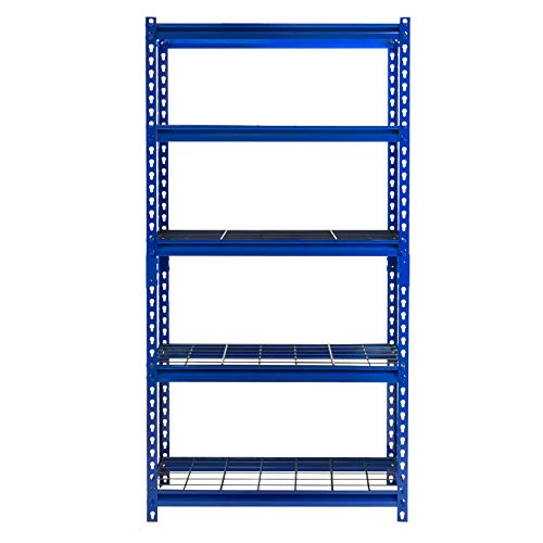 "Muscle Rack UR301260WD5-BL 5-Shelf Blue Boltless 30""W x 12""D x 60""H Steel Shelving Unit New York"