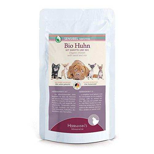 Herrmann Pouch Sensibel Bio-Huhn Karotten, Reis und Fenchel, 15er Pack (15 x 150 g)