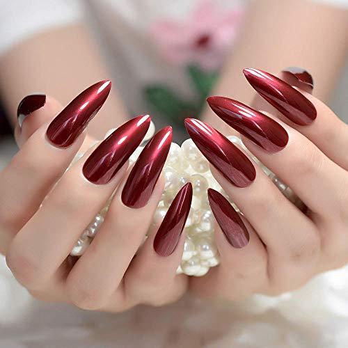 TJJF Appuyez sur les ongles Extra Long Stiletto Faux Ongles Uv Gel Shine Party Finger Decoration Nail Tips Set Of 24