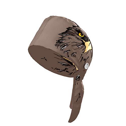 Gorra de trabajo con botones de moda con diseño de águila ajustable con gorros de trabajo con banda para el sudor para mujer, hombre, niño, niña, color negro