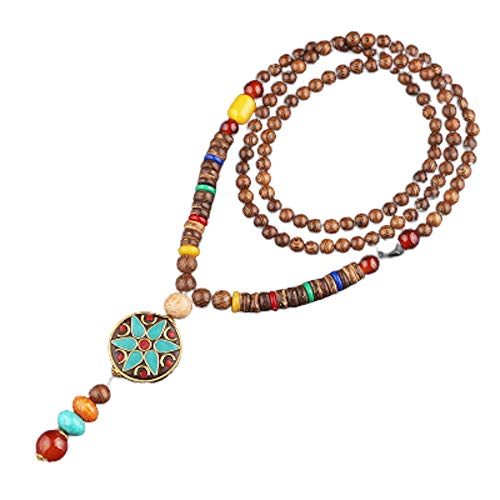 Collana lunga buddista EXINOX con perline di legno : Buddha etnico : Donna (Stella)