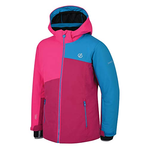 Dare 2b Unisex Kinder Chancer Waterproof Breathable High Loft Insulated Hooded Ski Snowboard Jacket with Detachable Snow Skirt and Articulated Sleeve Design Jacke, Fuchsia/Cyber Pink, 11-12