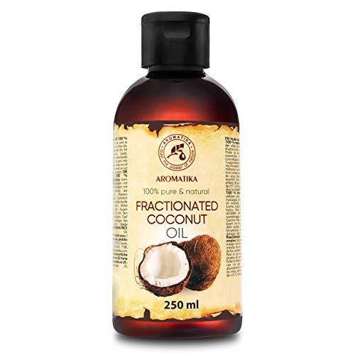 Aceite de Coco Fraccionado 250ml - 100% Puros y Aceites de Coco Naturales - Aceite Base - Inodoro - Tratamiento Facial Intensivo - Cuidado del Cuerpo - Piel - Cabello - Aceite de Masaje