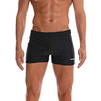 SALENT Mens Swimsuits Swim Trunks Shorts Athletic Swimwear Boxer Briefs Boardshorts  L_Waist 29 -31  0 Black