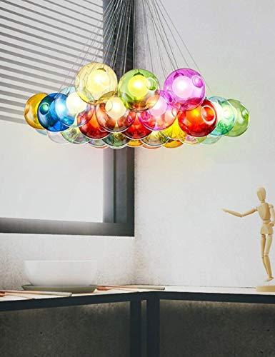 FWZJ Iluminación Escalera Candelabros LED Luz de Burbuja Bola de Vidrio Luces múltiples Sala de Estar Creativa Moderna Lámpara Colgante Villa Lámpara de Techo A + (Color: Luz Blanca, Ta