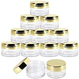 Beauticom 20g/20ml USA Acrylic Round Clear Jars with Lids for Lip Balms, Creams, Make Up, Cosmetics, Samples, Ointments (12 Pieces Jars + Gold Lids)