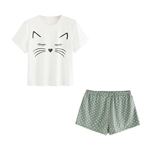 DIDK Damen Katzen-Druck Top und Shorts Pyjama Set Grün L