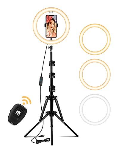 リングライト 自撮リングライト 外径10インチ 高安定性 三脚スタンド 無段階調光 3段階色味 10段階調光 照明 撮影用ライト 遠隔リモコンシャッター 高輝度LED 3000K-7000K テレワーク/照明/美容化粧/Youtubeビデオ撮影用/ビデオカメラ撮影(日本語説明書)