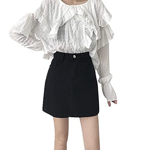N\P Falda de media longitud de las señoras de mezclilla de verano casual de cintura alta